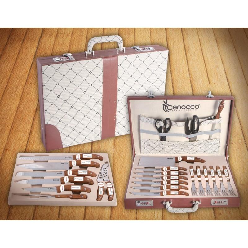 mallette couteaux de cuisine en inox 25 pcs cenocco cc 9025. Black Bedroom Furniture Sets. Home Design Ideas